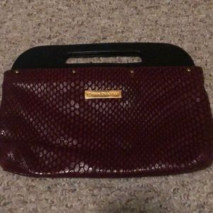 SOLD- Carrie Dunham red leather clutch - like new